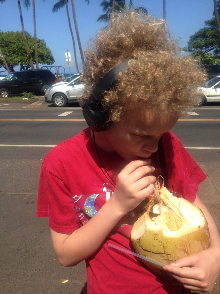 Max and a coconut